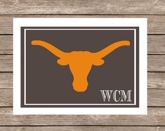 Texas Longhorns Monogram Notecards - Set of 20