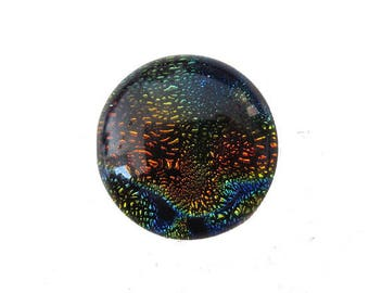 Handcrafted 20mm Dichroic Glass Cabochon.