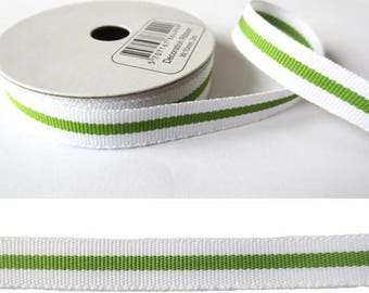 2 m x fancy 10mm Green/White grosgrain Ribbon
