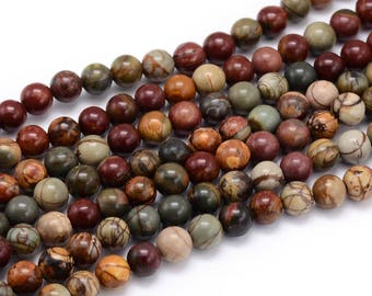 natural 8mm PICASSO Jasper stone round beads 10 x