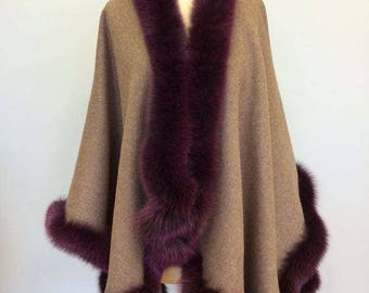 Real Fur Canadian |women's purple and gray fur-line poncho