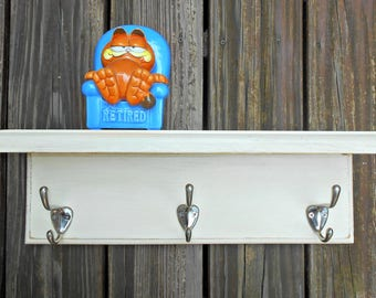 Wall Coat Rack-Shelf, Wood Coat Rack, Distressed Finish, Shelf with Hooks, Off White Color, 3 Beefy Silver Hooks, Many Uses