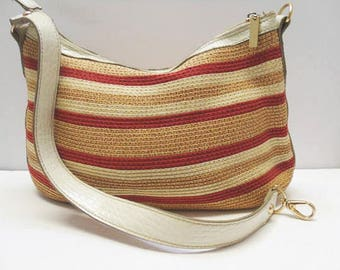 Liz Claiborne Villager Purse / Red, White and Tan Stripes With White Vinyl Trim / Summer Shoulder Bag