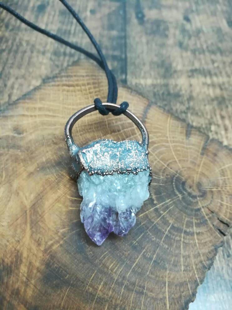 Amethyst crystal cluster copper electroformed pendant on adjustable black cord