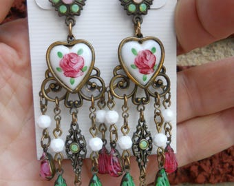 Banana Bob brass pierced earrings with hand painted hearts .99 shipping!!