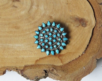 Turquoise Zuni Pin // 1970's Silver and Turquoise Native American Pin Jewelry // Vintage Accessory