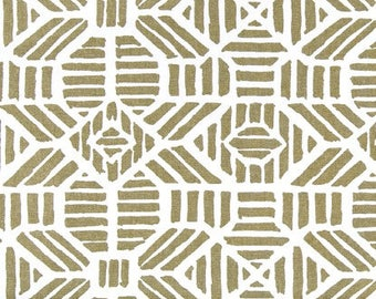Gold Metallic Geometric Fabric by the BOLT Premier Prints Ribble on white Home Decor Upholstery curtains drapes runners pillows 30 yards!