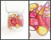 Eco Friendly Hand Painted Stained Glass Lantern Jar, fuchsia pink red orange tealight candle glassware, terrarium sacred home office vase