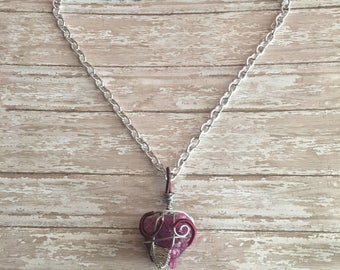 Dyed Amethyst Wire Wrapped Boho Crystal Necklace