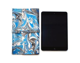 iPad Mini Pouch Cover Tablet, Stylish Blue Black Pattern, Handmade