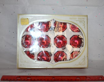 """Box of red Shiny Brite 1.5"""" Christmas ornaments in original box, American made"""