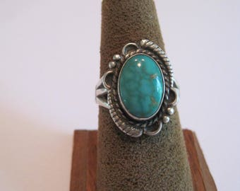 vintage turquoise sterling ring...hallmarked
