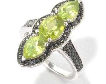 Rhodium Over Sterling Silver 3.2ctw Peridot & Black Spinel Ring SZ 6,7