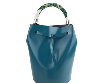 Leather Bucket Bag (Green)