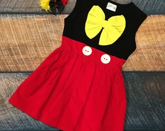 Mickey Inspired Dress and Clip Set
