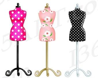 50% OFF Dress form Clipart Set, Digital Graphic, Dressform Clip art, Scrapbooking, Party Invitations, Polka Dots, Fashion, Illustrations, PN