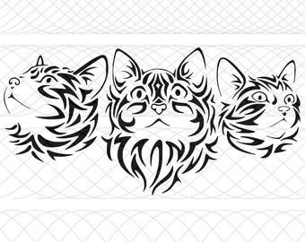 Tribal Cat Trio Bundle SVG, PNG, and STUDIO3 Cut Files for Silhouette Cameo/Portrait and Cricut Explore DIY Craft Cutters
