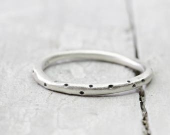 Silver Ring stack Ring dots, Matt brushed, collection ring, 2 mm, 925 sterling silver, organic shape, dots, dots