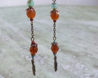 Long chain earrings, Delicate Beaded earrings, feather Boho earrings