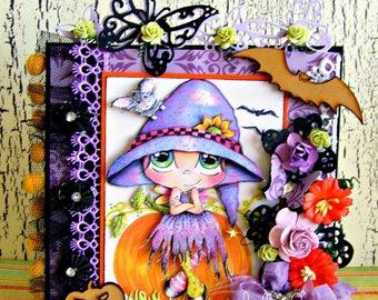 Handmade Deluxe Halloween card Sherri Baldy Bestie 3D Decoupage