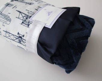 Aviator Blueprint Airplane Minky with Embossed Navy Chevron and Finished with Navy Satin Trim - Baby Boy, Crib Bedding