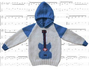 A fun Guitar Hoodie for Children 2-12 years, Pdf download knitting pattern, Rock Star Musical Jumper