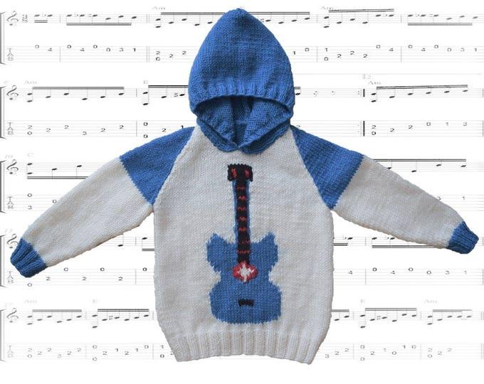 A fun Guitar Hoodie for Children 2-12 years, Pdf download knitting pattern, Rock Star Musical Jumper