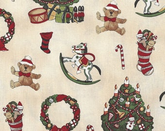 Windham Quilt Fabric - Paper Doll Christmas Series - Christmas Tree - Rocking Horse - Wreath - Stocking Motifs - 30860 - By the Yard