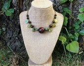 Forest Wood - Woodland beaded necklace with bronze chain and toggle clasp