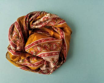 Delicate Silk Hand-painted Scarf - Gold and Red Vintage Kerchief Bandana
