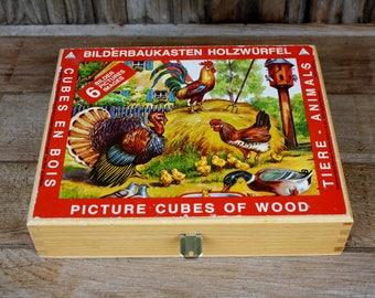 Vintage Eichhorn Wooden Cube Puzzle