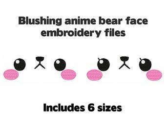 Machine embroidery design file - Kawaii Bear faces - 6 sizes boy and girl cat bunny rabbit - cute for plush stuffed animal plushie