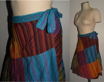 Vintage Nepal Wrap Skirt / Nepalese Patchwork Colorful / Kathmandu cotton hippie skirt S/M/L