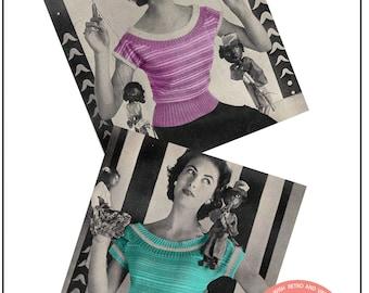 1950s Scoop Neck Sweater Vintage Knitting Pattern - PDF Knitting Pattern - PDF Instant Download