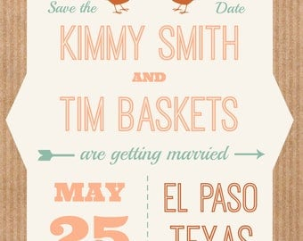 Hipster Love Birds Save The Date Brown Peach Cardboard