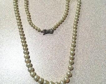 "Vintage 50's Graduated Cream Pearl Choker Sterling Silver Art Deco Clasp, Petite Graduated ""Potato"" Pearl Necklace w/ Fancy Clasp"