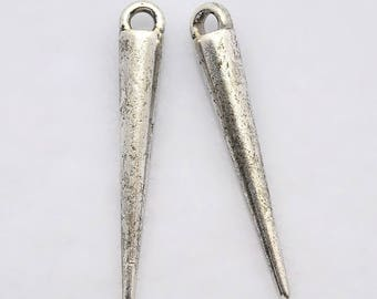 Antiqued Silver Spike Cone Charms