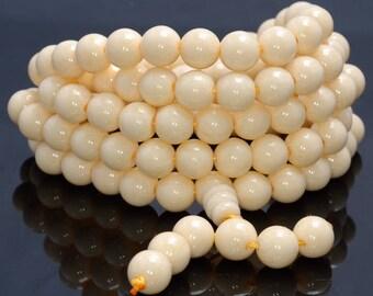 Ivory buddha etsy 108pcs 6mm faux ivory beads white prayer buddha mala meditation beads round loose beads bulk lot mozeypictures Choice Image