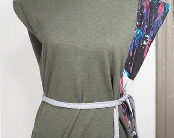sleeveless sweatshirt in organic cotton with hand-painted inserts