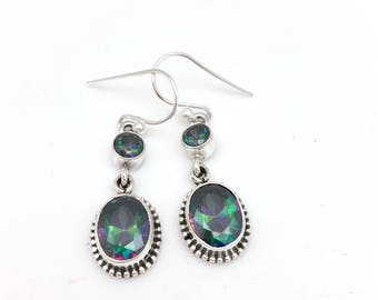 Sterling Silver and Oval Mystic Topaz Dangle Earrings