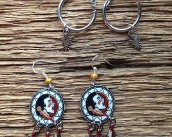 FSU dream catcher earrings and arrowhead hoop earrings set: Florida State earrings set, Seminoles dream catcher earrings, arrowhead earrings