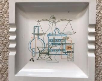 Vintage melamine apothocary/chemist/laboratory themed ashtray