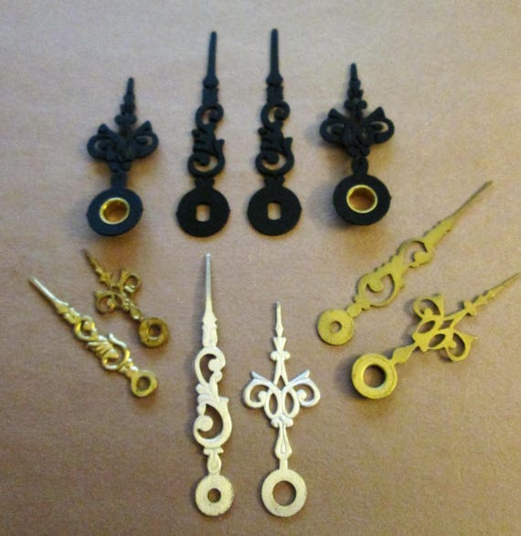 5 Pairs of Assorted Antique & Vintage Small Serpentine Design Mantle Clock Hands for Clock Projects , Jewelry Making, Steampunk Art  Etc...