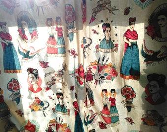 Handmade Viva Frida Kahlo Window Curtain