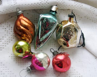 Set of 6 Soviet Christmas tree decoration, Mercury Glass Christmas Glass Ornament - Made in USSR
