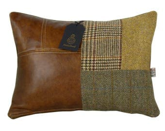 Harris Tweed patchwork cushion cover