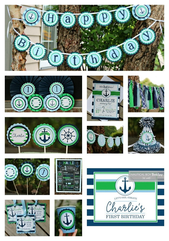 Nautical birthday decorations boy nautical party for 1st birthday decoration packages