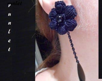 black lace earrings gothic/crochet earrings/gift for women