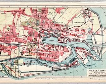 Vintage map of Wilhelmshaven from 1905 #00207