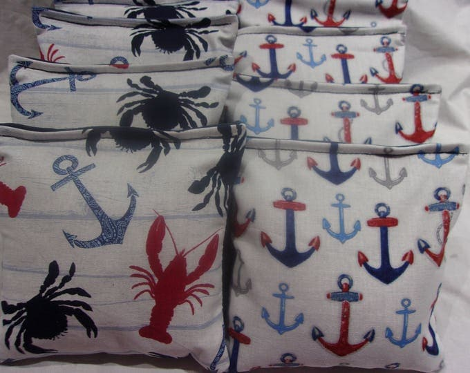 8 ACA Regulation Cornhole Bags - Ocean Anchors Lobsters & Crabs and More Anchors